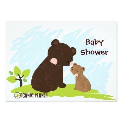 Bears Organic Planet Baby Shower Invitaitons Invitations