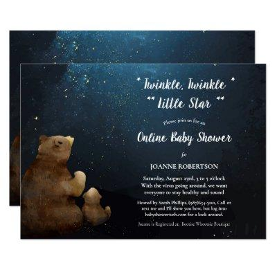 Bears Twinkle Little Star Online Baby Shower Invitation