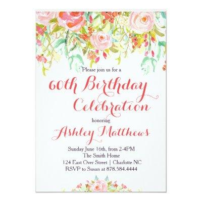 Beautiful Floral Adult Birthday Invitations
