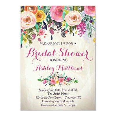 Beautiful Floral Bridal Shower Invitations, Baby Invitations