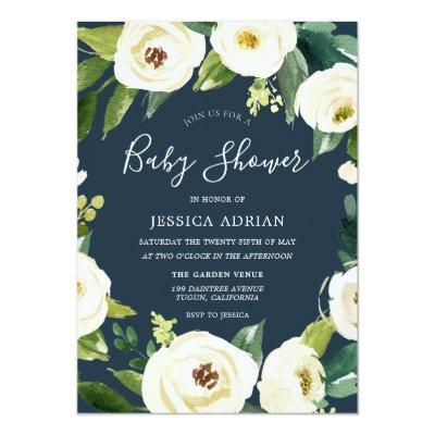 Beautiful Flowers Turquoise Baby Shower Invite