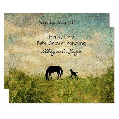 Beautiful Mare and Foal Horse Baby Shower Invite
