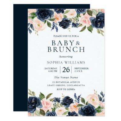 Beautiful Navy & Blush Floral Baby Shower Brunch Invitation