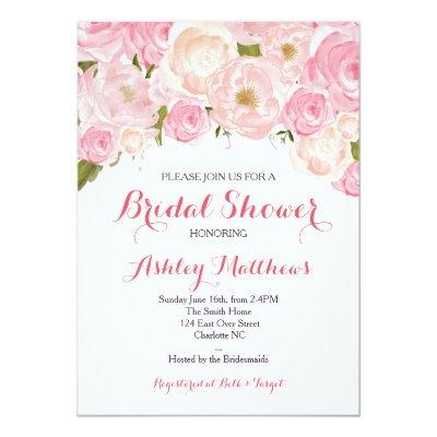 Beautiful Pink Floral , Baby Invitations
