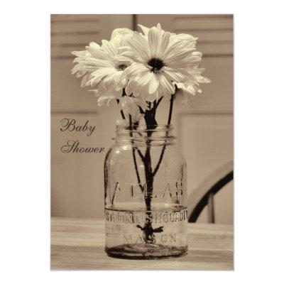 Beautiful Sepia Mason Jar & Daisies