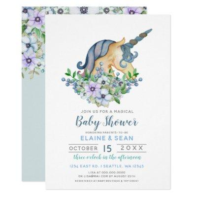 Beautiful Unicorn Blue Floral Boys Baby Shower Invitations