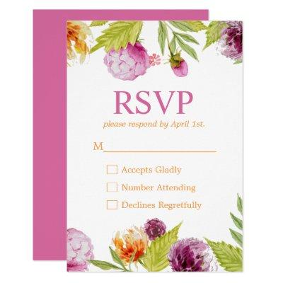 Beautiful Watercolor Flowers RSVP Response Invitations