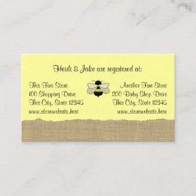 Bee and Burlap Baby Registry Invitations