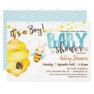 Bee Baby Shower invitation, Boy Invitation