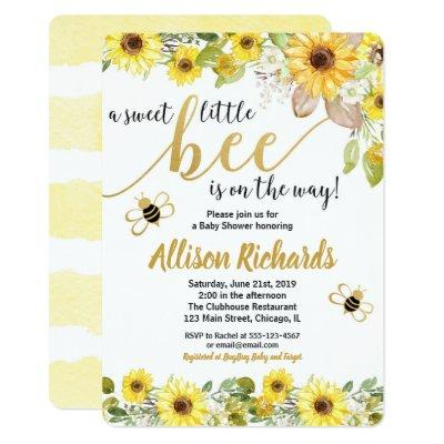 Bee baby shower Invitations girl yellow bumblebee