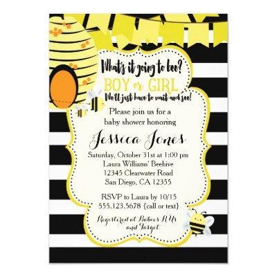Bee invitation baby shower invitations baby shower invitations bee or gender reveal party filmwisefo Choice Image