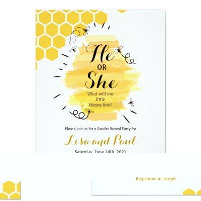Bee Gender Reveal Invitation