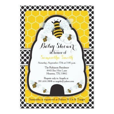 Bee Hive Baby Shower/Birthday Invitations