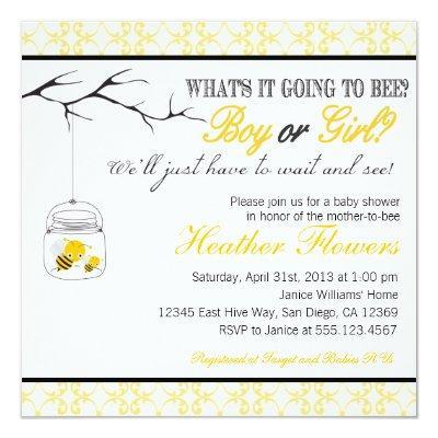 Bee Mason Jar Baby shower Invitations