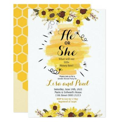Bee Sunflower He or She Gender Reveal Invitation