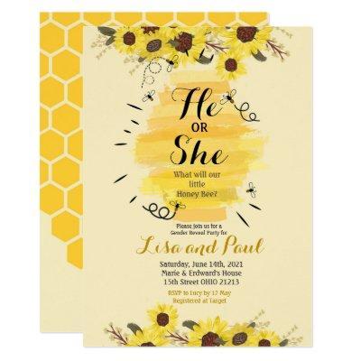 Bee Sunflower Yellow Gender Reveal Invitation