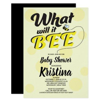Bee Yellow Black Neutral Baby Shower Invitations