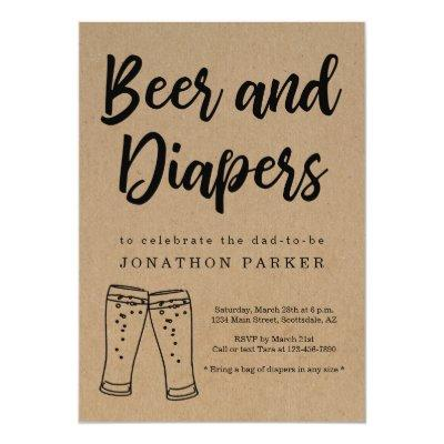 Beer & Diaper Party - Daddy, Guy, Men Baby Shower Invitations