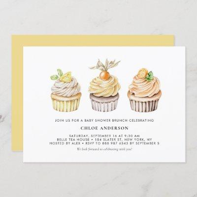 Berry and Citrus Cupcakes Baby Shower Brunch Invitation