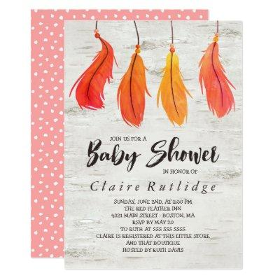 Birch & Red Feathers Baby Shower Invitation