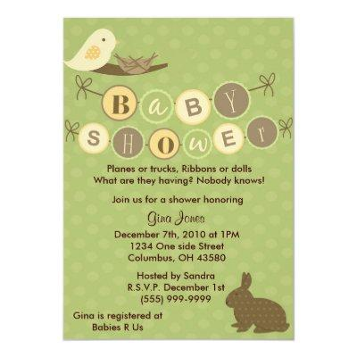 Birdie Baby Shower Invitations