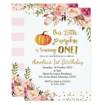 Birthday Pumpkin Baby Shower Invitations
