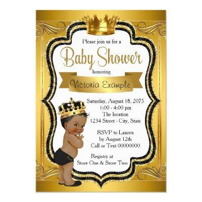 Black and Gold African American Prince Baby Shower Invitations