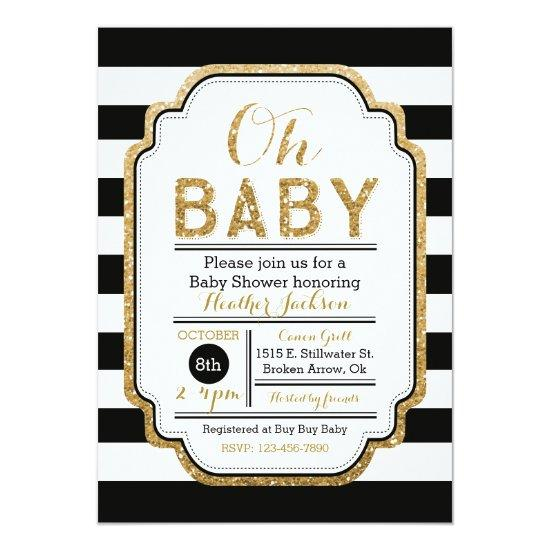 Black And Gold Baby Shower Invitations