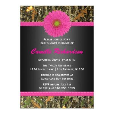Black and Pink, Camo, Girl Baby Shower Invitations