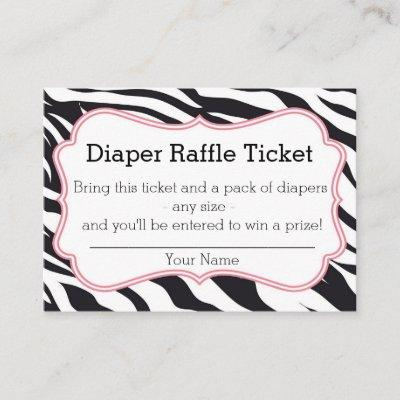 Black and Pink Zebra Diaper Raffle Ticket Enclosure Card