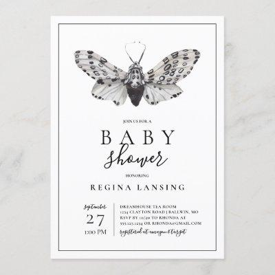 Black and White Love You Moth Baby Shower Invitation