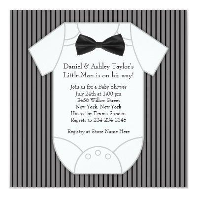 Black and White Pinstripe Baby Shower Invitations