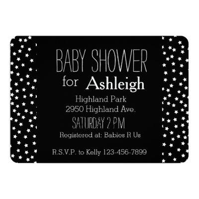Black and White Stars baby shower Invitations