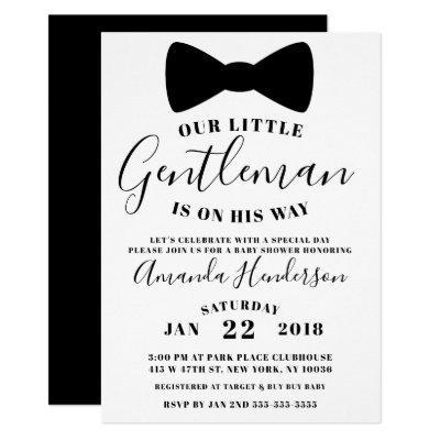 Black Bow Tie Gentleman Baby Shower Invitation