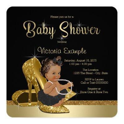 Black Gold High Heel Shoe Ethnic Girl Invitations