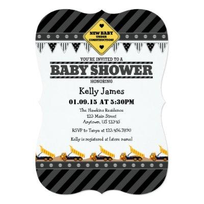 Black Gray Construction Baby Shower Invitations