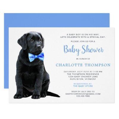 Black Lab Puppy Dog Blue Boy Baby Shower Invitation