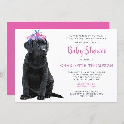 Black Lab Puppy Dog Pink Girl Baby Shower Invitation