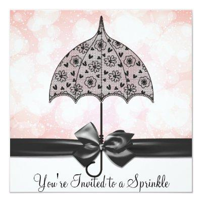Black Lace Umbrella Pink Baby Sprinkle Baby Shower Invitation