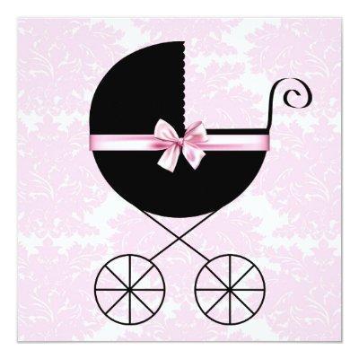 Black Pink Damask Baby Shower Invitations