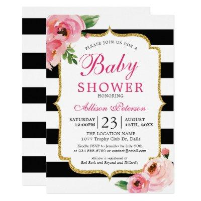 Black Stripes Pink Floral Baby Shower Invitation