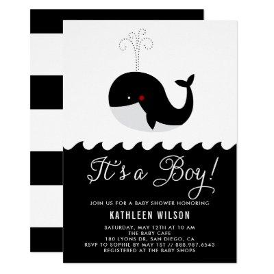 Black & White Baby Whale It's a Boy Baby Shower Invitation