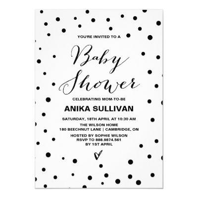 Black & White Confetti Dots Baby Shower Invitations