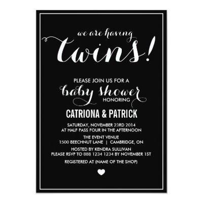 Black & White Script Twins Baby Shower Invitations