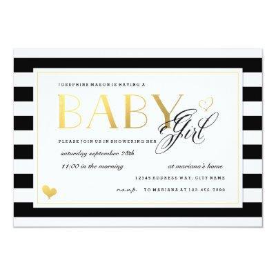 Black & White Stripe Baby Girl Shower Gold Accents Invitations