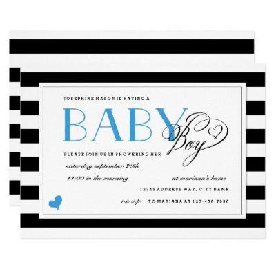 Black & White Stripe Bright Blue Boy Baby Shower Invitation