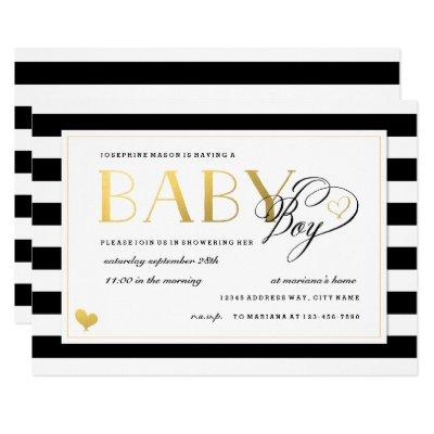 Black & White Stripe Faux Gold Boy Baby Shower Invitation