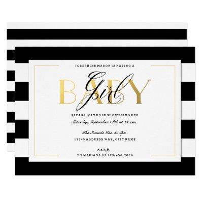 Black & White Stripe Sophisticate Baby Girl Shower Invitation