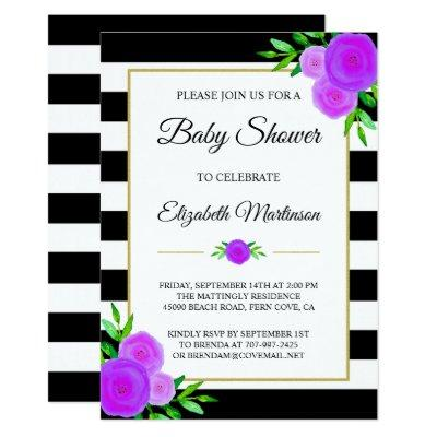 Black White Stripes Watercolor Floral Baby Shower Invitations
