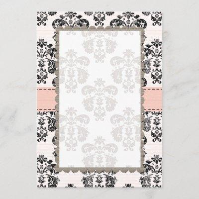 Blank Pink and Black Damask